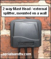 "2 way external (or ""Mast Head"") splitter mounted on the wall."