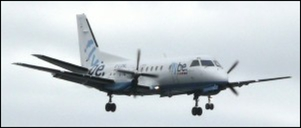 Flybe Saab 340 on approach to Sumburgh airport Shetland
