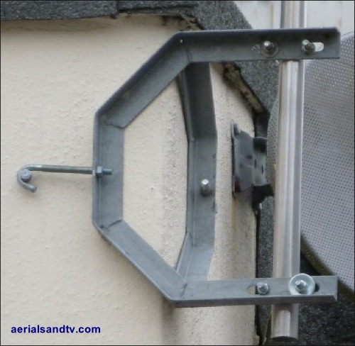 Mounting brackets and poles on the corner of a brick building