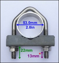 2 inch (long type) stainless steel V bolt and sledge / saddle
