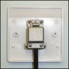 Rear view of 1 way screened coaxial outlet plate