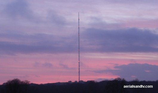 Mendip TV transmitter at Dusk