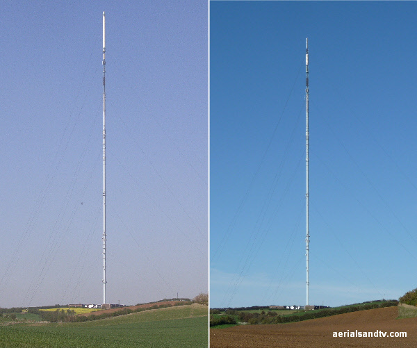 "Belmont transmitter before and after it`s 2010 ""chop"""