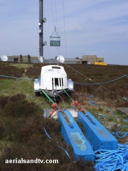 Anchor point for Bosun`s chair at Bilsdale transmitter