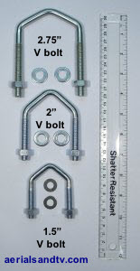 V bolts, c/w washers !