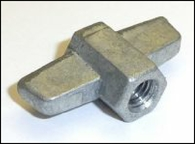 Die cast M6 wing nut with integral 10mm hexagon