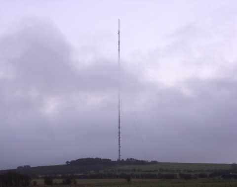 Mendip transmitter in the clouds