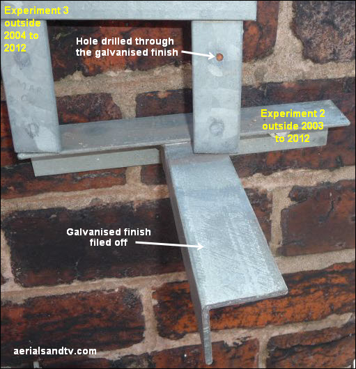Hot dipped galvanised brackets on test 1