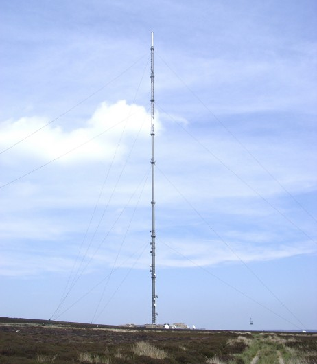 Bilsdale transmitter, being repainted.