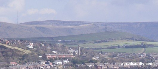 Saddleworth TV transmitter (right) and Holme Moss radio transmitter (left)
