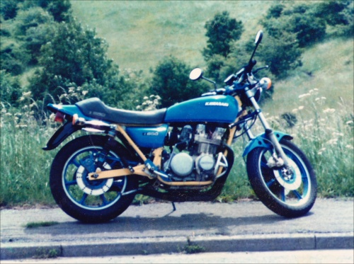 Kawasaki Z650 up near Owler Bar (SW Sheffield - 1987)