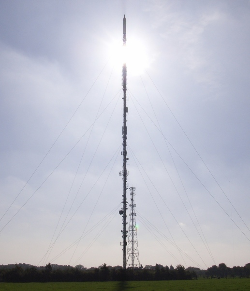 Sun shining through Oxford TV transmitter