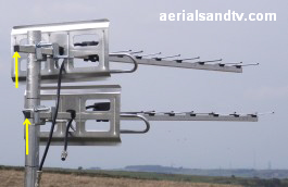 Aerial separation tests, horizontally polarised aerials out of phase