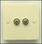 2 way F connector wall plate
