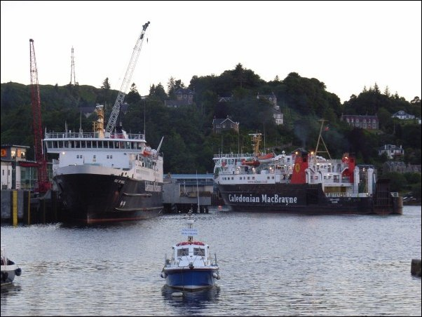 Oban harbour with the transmitter on the hill beyond