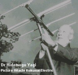Dr Hidetsugu Yagi with his famous aerial design.