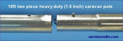 Heavy duty 10ft x 1.5in caravan / multi section pole