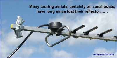 "A Yagi aerial with no reflector loses half its signal, many ""canal boat"" yagis have no reflector....."