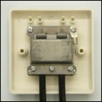 Rear view of 2 way screened coaxial outlet plate
