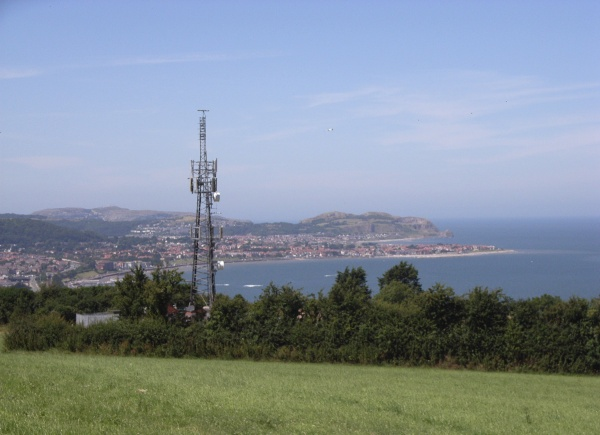 Penmaen Rhos transmitter with Colwyn bay in the background