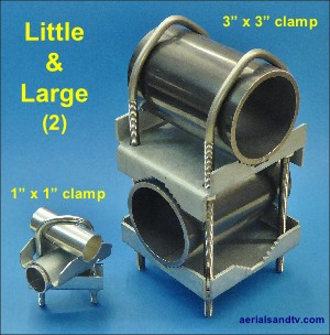 """Little & Large"" : the 1"" x 1"" mast clamp and the 3"" x 3"" mast clamp"
