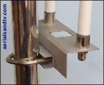 "Collinear antenna mounting plate (to attach one or two collinears attach to a pole) c/w 2"" V bolt and 2in saddle"