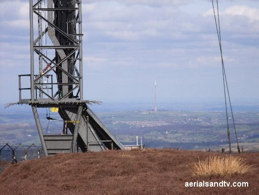 Base of Holme Moss transmitter with Emley Moor in the background 525W