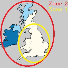 Recommended areas for Sky satellite zone 1 or zone 2 dishes 265sq