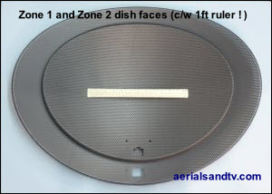 Zone 1 and 2 satellite dish faces relative to each other 300W L10 9kB