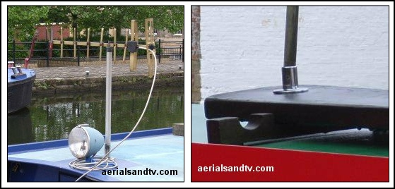 Aerial neatly mounted on the roof of a boat and on a gang plank 559W L5 kB