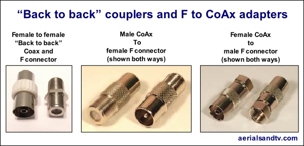 CoAx and F connector back to backs and adapters 600W L5
