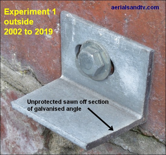 Damaged galvanised finish corrosion tests 2002 to 2019 550W L10
