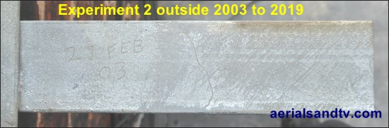 Damaged galvanised finish corrosion tests 2003 to 2019 550W L10