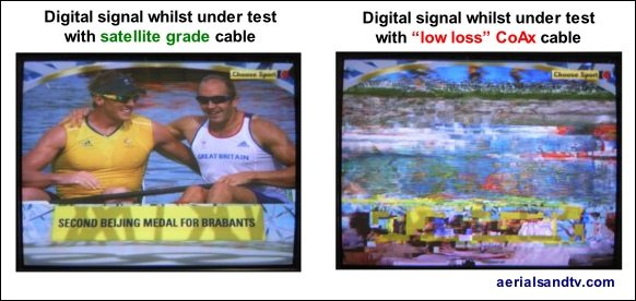 Digital TV signal under test using satellite and low loss coax cable H 582W L5