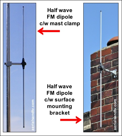 Half wave FM dipoles with mast clamp or surface mount bracket 426W L5