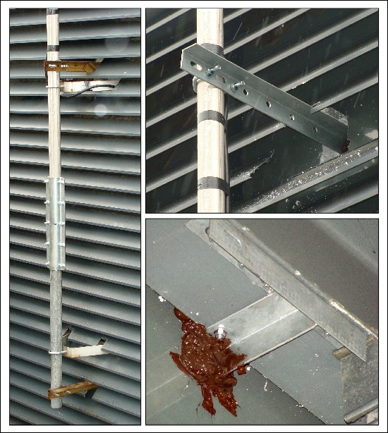 Installing a pole and brackets on a building through metal slats 550W L5