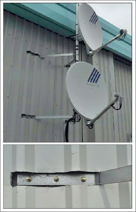 Installing a pole and brackets on a metal skinned building 475W L5