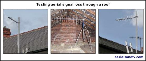 Testing aerial signal loss through a loft roof 555W L5