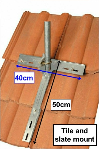 Tile and slate roof mount to install short poles and small aerials 500H L5
