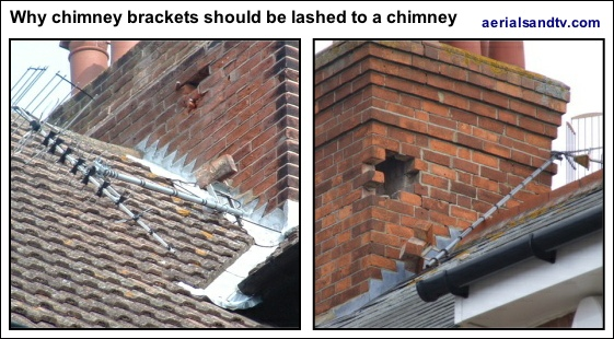 Why brackets should be lashed to chimney stacks NOT screwed to them 561W L5