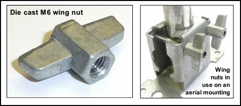 Wing nuts in use on a 2 way surface bracket 477W L5