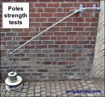 Aerial poles masts strength tests 350W L5