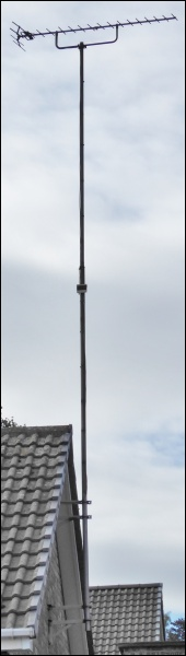 An extended scaffold pole (12ft to 20ft) used for an aerial installation 600H L5