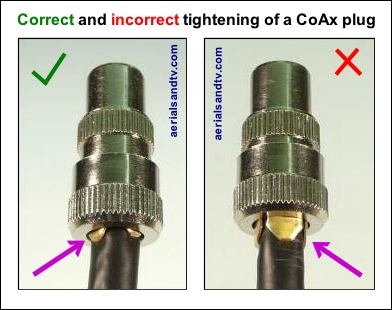Correct and incorrect tightening of a CoAx plug 392W L5
