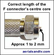 Correct length of an F connector's centre core 207W