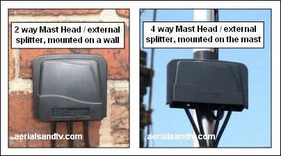 Mast head and wall mount splitters 404W L5