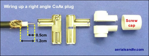 Disassembled right angle CoAx plug how to put it together 500W L10 22kB