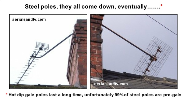Steel aerial poles masts they all fail eventually 604W L5