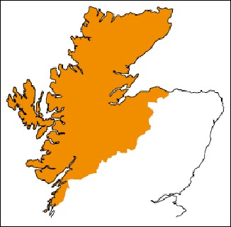 TNT carrier surcharge map for NW Scotland 320H L10 24kB