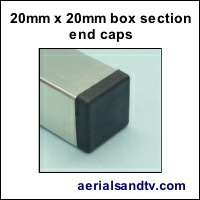 20mm x 20mm box section end caps 200Sq